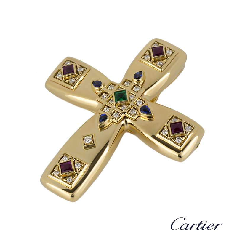 Cartier 18k yellow gold multi stone byzantine cross pendant brooch mozeypictures Image collections